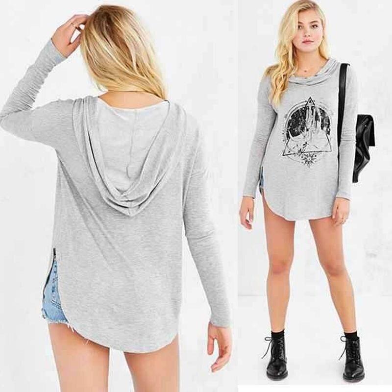 Fashion New Women Fashion Hoodies Casual Jacket Coat Outerwear Blouse Tops Mini Dress Grey(Grey) - intl