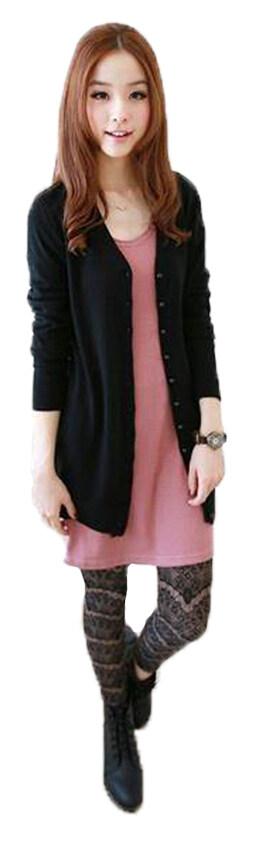 Fashion on art เสื้อคลุมไหมพรมแขนยาว (Black)