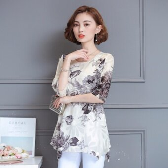 Fashion Summer Plus Size Chiffon Floral T-Shirt - Blue - intl