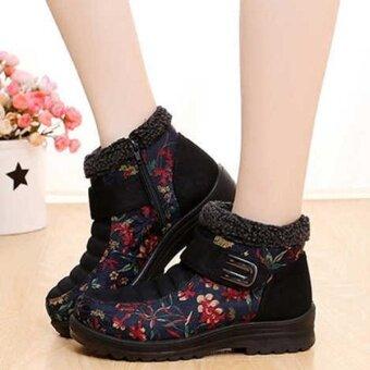 แฟชั่นผู้หญิงดอกไม้เมจิกสติ๊กหนังเทียม Faux FUR Lining ข้อเท้าอุ่นรองเท้าหิมะ