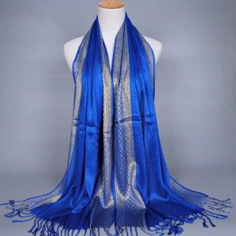 Fashion Women Ladies Shade Scarf Stole Shawl Wrap Soft Cotton Scarves Accessory Sapphire Blue