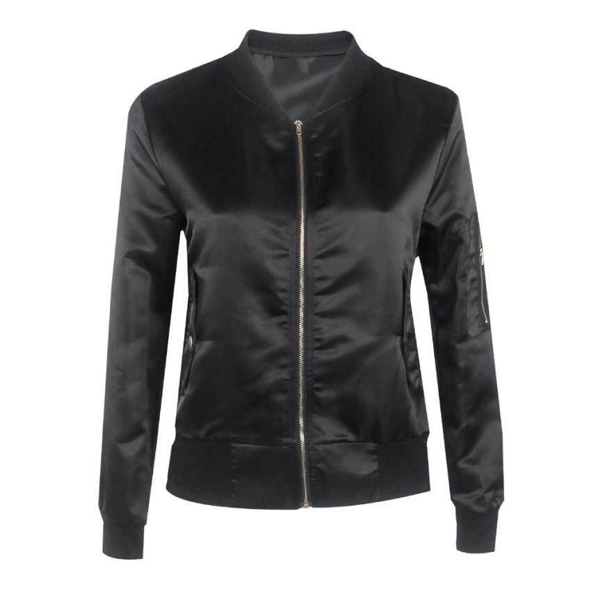 Fashion Women Padded Bomber Jacket Vintage Coat (Black) - intl