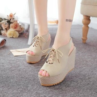 Fashion Women's Sexy Hollow Uppers Wedge Heels Sandals (Beige) - intl
