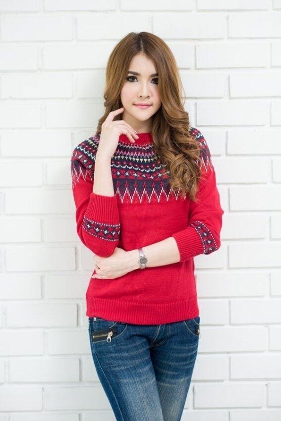 fashionstory เสื้อไหมพรมแต่งไหล่ (สีแดง)