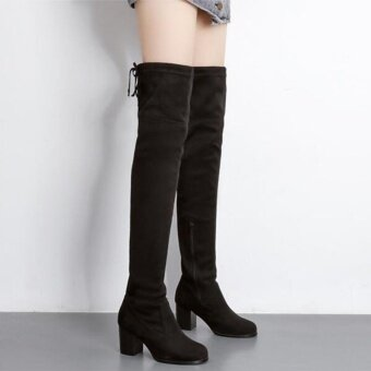 Faux Suede Slim Boots Sexy elasticity Over The Knee High WomenBoots Women's Fashion Winter Thigh High Boots Shoes(Black)