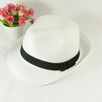 หมวกปานามา Fedora สีขาว หมวกแฟชั่น มีสายสีดำคาดที่ตัวหมวก 1 ชิ้น