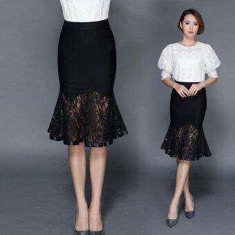 Female new lace package hip skirt stretch Slim waist high in thefish tail skirt - intl