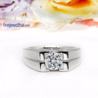 Finejewelthai-แหวนเพชร-แหวนเงิน-เพชรสังเคราะห์-เงินแท้ 925-แหวนหมั้น-แหวนแต่งงาน-Diamond Cz-silver-wedding-ring - R1175cz