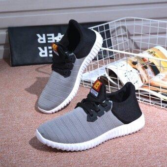 FIT รองเท้า รองเท้าผ้าใบผู้ชาย รุ่น M008 - สีดำ/เทา - 4