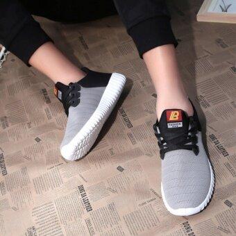 FIT รองเท้า รองเท้าผ้าใบผู้ชาย รุ่น M008 - สีดำ/เทา - 2