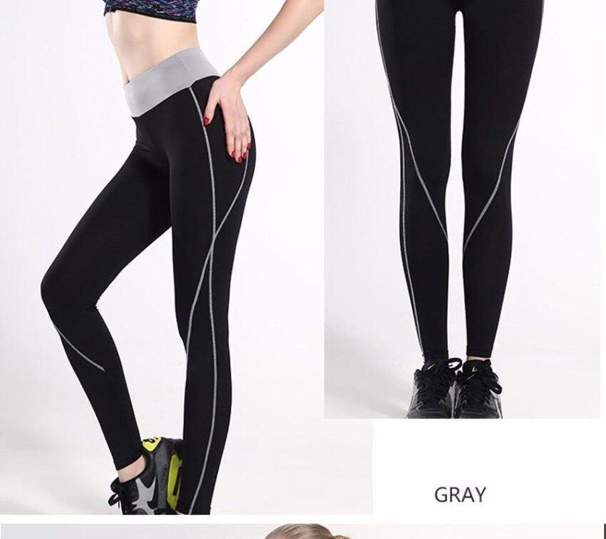 Fitness Women Running Leggings Sports Elastic Pants for Yoga Gym Women Sport Trousers Running Tights (Grey) - intl
