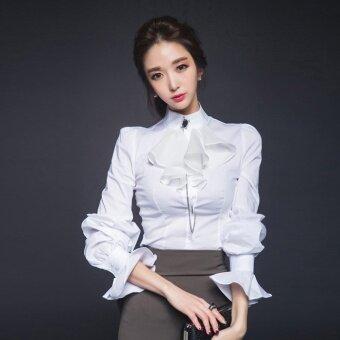 เสื้อเกาหลีฤดูใบไม้ร่วงใหม่ flounced (สีขาว (ไม่มีเพชรหัวเข็มขัด) (จุด))
