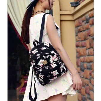 กระเป๋าเป้ สไตล์เกาหลี กระเป๋าแฟชั่นผู้หญิง Flower (ฺBlack) - 3