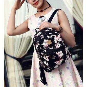 กระเป๋าเป้ สไตล์เกาหลี กระเป๋าแฟชั่นผู้หญิง Flower (ฺBlack) - 5