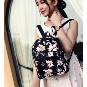 กระเป๋าเป้ สไตล์เกาหลี กระเป๋าแฟชั่นผู้หญิง Flower (ฺBlack) - 2