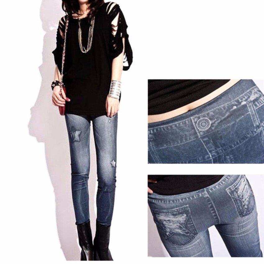 ผู้หญิงใส่กางเกงยืดสกินนี่ยีนส์ เลกกิ้ง ( สีฟ้า และ สีดำ )free size