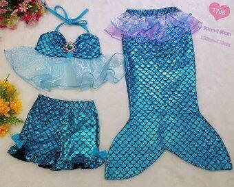 Friendly 4 Kid ชุดว่ายน้ำ ชุดนางเงือก เซ็ต 3 ชิ้นเสื้อระบาย+กางเกงขาสั้น + กระโปรงหางนางเงือก สีฟ้า
