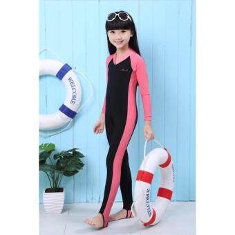 Friendly4kidชุดว่ายน้ำบอดี้สูท แขนยาวรัดส้น กันยูวี สีชมพู