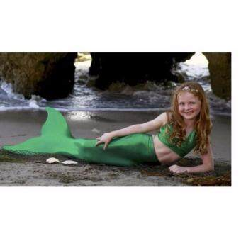 Friendly4kidชุดว่ายน้ำเด็กชุดว่ายน้ำหางนางเงือก สีเขียวหางปิด