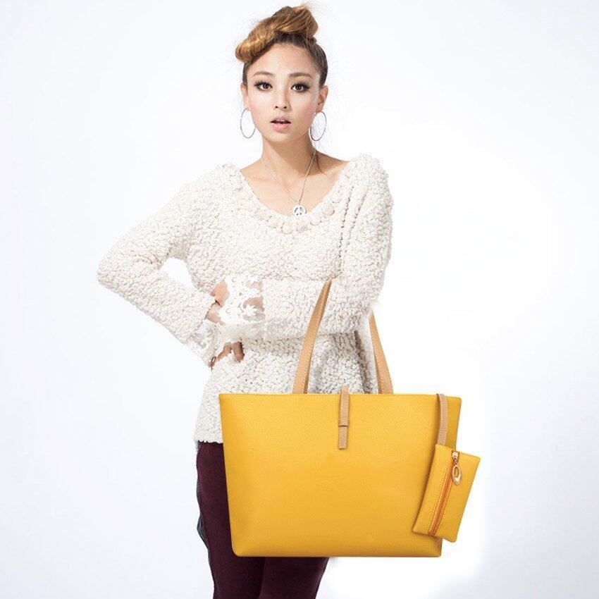 FTshop เซต2ใบ กระเป๋า+กระเป๋าแฟชั่น+กระเป๋าสะพายข้าง+กระเป๋าสตางค์handbag รุ่น24c-6(สีเหลือง)