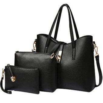 FTshop เซ็ต 3 ใบ กระเป๋าสะพายข้าง กระเป๋าสตางค์ผู้หญิงกระเป๋าแฟชั่น กระเป๋าถือผู้หญิงรุ่น40c(สีดำ) - 2