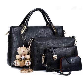 FTshop เซ็ต4ใบ กระเป๋าแฟชั่นเกาหลี+กระเป๋าสตางค์ผู้หญิง+กระเป๋าสะพายข้าง+พวงกุญแจหมี-รุ่น 35c (สีดำ)