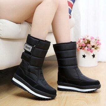 รองเท้าบูทผู้หญิง กันหนาว ผ้ากำมะหยี่ (รุ่นหญิง + G11-สีดำ)