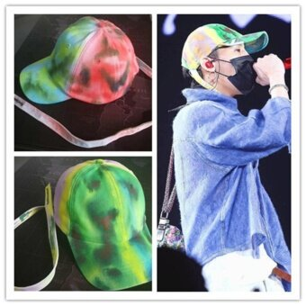 GD Same Style Baseball Cap Hat Bigbang Fashion Adjustable Hip Hop Cotton scrawl Green/Red - intl