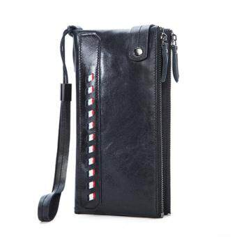 Genuine Leather Men Wallets with Multi Card Holders Men's LongWallets Purse Man Clutch Bag Black - intl