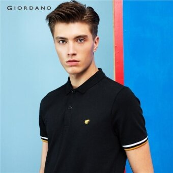 Giordano Men Frog embroidery polo 01014700 Signature Black x Gold -intl
