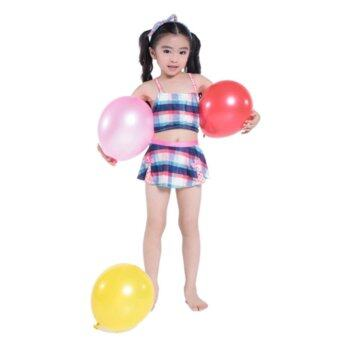 Girl fashion blue red plaid two-piece swimsuit children beachswimsuit - intl