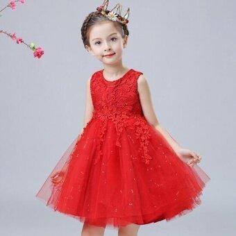 Girlhood girl's lace dress-Red - intl
