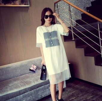 Harga Girlhood Korea Korean fashion Big size loose dress White - intl