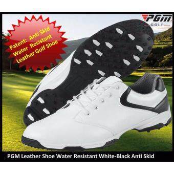 ประเทศไทย Golf Shoe by PGM Model XL051 White-Black LEATHER Man Anti Skid