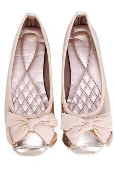 รองเท้าสตรีหญ้าคากุทัณฑ์แตะระดับ gomminoสี่เหลี่ยมแบนปลายรองเท้าทอง - 2