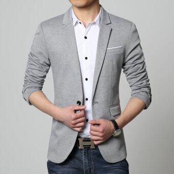Good quality cotton slim fat Man big size suit jacket blazer(grey)