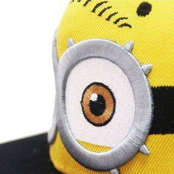 หมวกเบสบอลเด็ก Gorras สีเหลือง Casquette พระเจ้าพ่อเอาหนังการ์ตูนMinions ใบแบน Snapback ฮิพฮอพหมวก