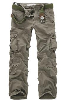 Gracefulvara กองทัพทหารกางเกงคาร์โก้ชายหลายกระเป๋ากางเกง (แสงสีเทา)-ระหว่างประเทศ