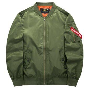 Grandwish Men Pilot Bomber Jacket Pure Color Coat Plus size S-6XL(Army green) - intl - 2