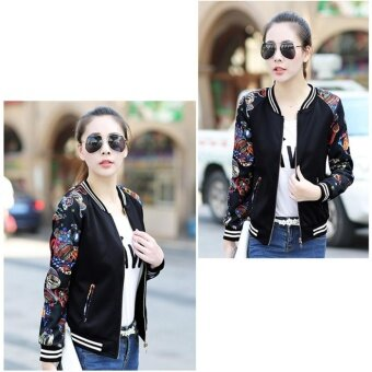 Grandwish Women Floral Print Jackets Baseball uniform Coat PlusSize S-3XL (Black bird) - intl