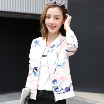 Grandwish Women Floral Print Jackets Baseball uniform Coat SlimS-2XL (2) - intl