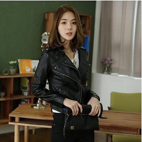 Grandwish Women Stand collar PU Leather Coat Motor Jacket Rivets design S-2XL (Black) - intl