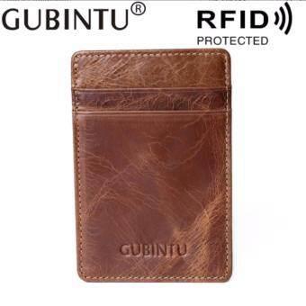 ประกาศขาย GUBINTU กระเป๋าใส่นามบัตร หนังแท้ ป้องกันการโจรกรรมข้อมูลบัตรกระเป๋านามบัตร กระเป๋าบัตร หนังกันน้ำ บาง Credit Card PackageFunctional Leather RFID Bank Factory Direct Sale Money Clip - OT264