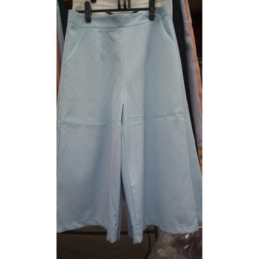 HANAYOURSTYLE กางเกงขา 5 ส่วน  เอวสูง ผ้าฮานาโกะ ไซต์  M (สีฟ้าพาสเทล)