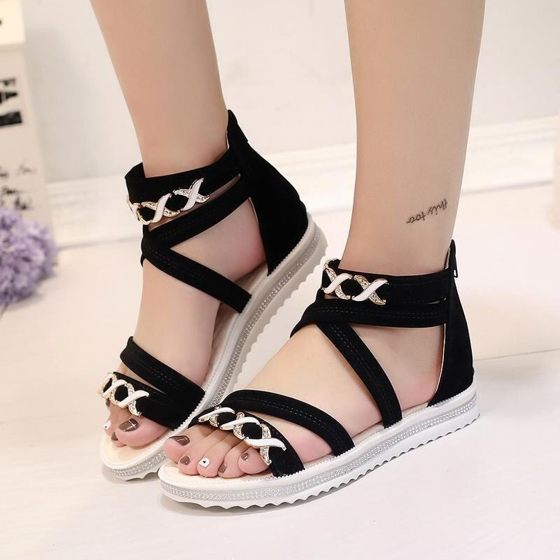Hang-Qiao Flat Sandals Bind Covered Casual Summer Shoes (Black) - intl
