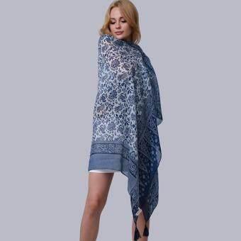 Hang-Qiao New Fashion Accessories Women Silk Scarf Tassel ShawlsBlue - Intl