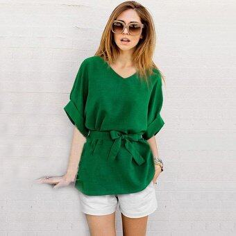 Hang-Qiao Vintage Bat Sleeve Women Blouses Loose Shirt Tops (Green)- intl