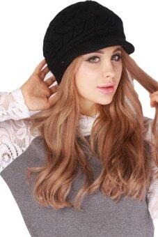Hang-Qiao Warm Women Knitted Beret Hat Autumn Winter Cap Black