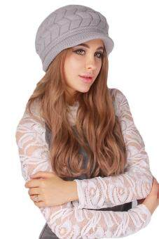Hang-Qiao Warm Women Knitted Beret Hat Autumn Winter Cap Grey