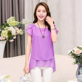 Hang-Qiao Women Loose Shirt O-Neck Chiffon Short Sleeve Blouse(Purple) - intl